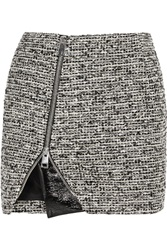 Bouchra Jarrar Wool Blend Tweed And Faux Patent Leather Mini Skirt