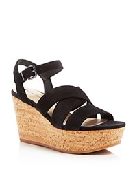 Via Spiga Kendall Strappy Cork Platform Wedge Sandals Black