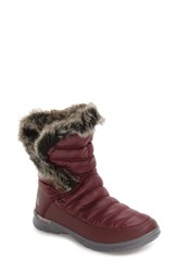 The North Face Women's Microbaffle Waterproof Thermoball Insulated Winter Boot Shiny Deep Garnet Quill Red