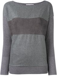 Fabiana Filippi Leather Panel Jumper Grey