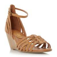 Head Over Heels Kruizer Two Part Strappy Wedge Sandals Tan