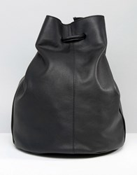 Warehouse Leather Duffle Bag Black