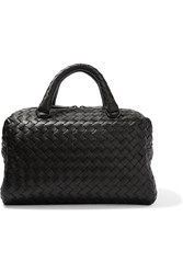 Bottega Veneta Boston Mini Intrecciato Leather Tote Black