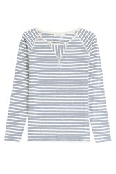 Closed Cotton Longsleeve Top With Stripes