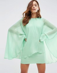 Asos Soft Chiffon Cape Mini Dress Mint Green