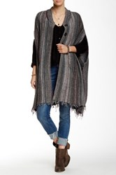 Free People Wool Blend Blanket Sweater Coat Gray