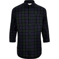 River Island Mens Green Checked Linen Rich Shirt