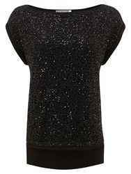 Mint Velvet Lace Sequin Layered T Shirt Black