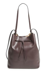 Lodis Large Halina Leather Bucket Bag Grey Lava Taupe