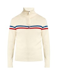 Fusalp Wegen Striped Wool Sweater White Multi