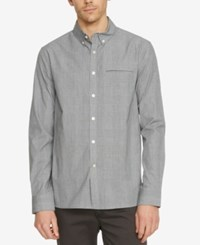 Kenneth Cole New York Men's Plaid Besom Pocket Long Sleeve Shirt Black Combo