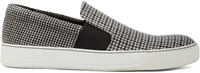 Lanvin White Wool Herringbone Slip On Sneakers