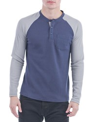Sovereign Code Jeter Colorblocked Henley Shirt Navy