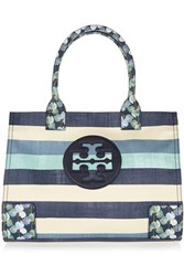 Tory Burch Ella Leather Trimmed Striped Canvas Tote Blue