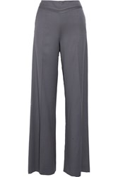 Oscar De La Renta Wool Wide Leg Pants Gray