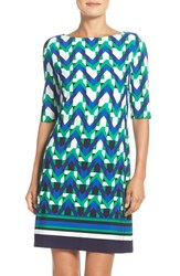 Eliza J Petite Women's Print Jersey Shift Dress Teal Black Blue