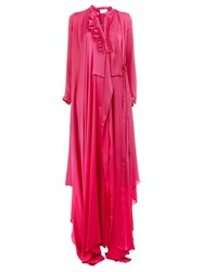 Maison Rabih Kayrouz Ruffle Neck Wrap Dress Pink And Purple