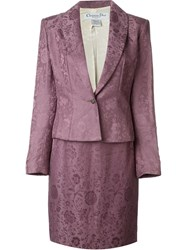 Christian Dior Vintage Floral Jacquard Skirt Suit Pink And Purple