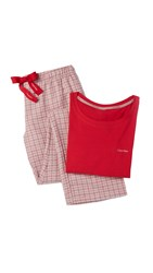 Calvin Klein Underwear Flannel Pajamas Gift Set Regal Red Stillness