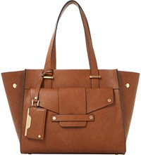 Dune Dornan Leather Winged Shopper Bag Tan Plain Pu