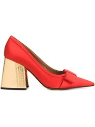 Marni Metallic Chunky Heel Pumps Red