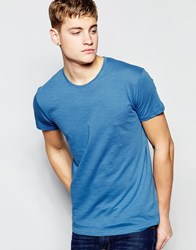 Solid Crew Neck T Shirt Blue