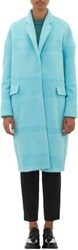 Barneys New York Textured Stripe Oversized Coat Blue