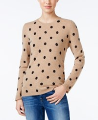Charter Club Cashmere Polka Dot Sweater Only At Macy's Heather Camel