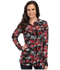 Roper 9906 Printed Mesh Western Shirt Black Women's Clothing