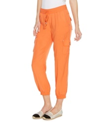 Inc International Concepts Curvy Fit Pull On Cropped Cargo Pants Indian Orange