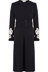 Victoria Beckham Belted Appliqued Wool And Cotton Blend Coat Midnight Blue