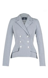 Lena Hoschek Crew Seersucker Blazer Light Blue