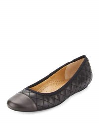 Neiman Marcus Saucy Quilted Leather Flat Multi