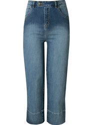 Andrea Marques High Waisted Cropped Jeans Blue