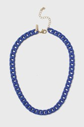 Topshop Rubber Chain Necklace Blue