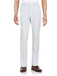 Haspel Bernard Striped Seersucker Pants Blue White