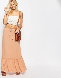 Vila Tiered Maxi Skirt Pink Sand