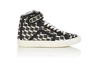 Pierre Hardy Women's Coated Canvas High Top Sneakers Black White Grey Black White Grey
