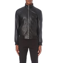 Reiss Bruno Leather Bomber Jacket Black