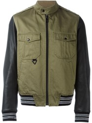 Just Cavalli Leather Sleeves Jacket Green