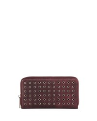 Neiman Marcus Grommet Zip Around Wallet Burgundy