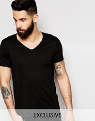 Reclaimed Vintage V Neck T Shirt With Rolled Sleeves Black
