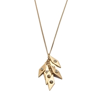 J.Crew Crystal Diamond Pendant Necklace Antique Gold