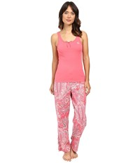 Lauren Ralph Lauren Woven Pants And Knit Tank Top Set Pink Paisley Women's Pajama Sets