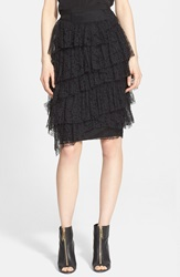 Burberry Tiered Chantilly Lace Skirt Black