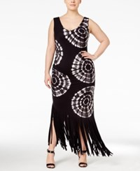 Inc International Concepts Plus Size Tie Dyed Fringe Maxi Dress Only At Macy's Deep Black
