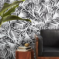 Cb2 Caymen Black And White Palm Traditional Paste Wallpaper