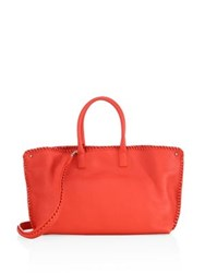 Akris Ai Small Convertible Whipstitched Leather Tote Apricot