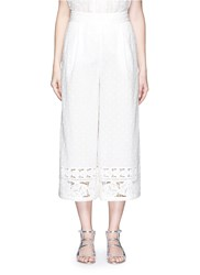 Zimmermann 'Realm' Dot Floral Embroidered Cotton Cropped Pants White