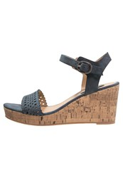 Esprit Gessie Platform Sandals Navy Dark Blue